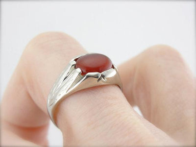 Art Deco Era White Gold and Carnelian Ring