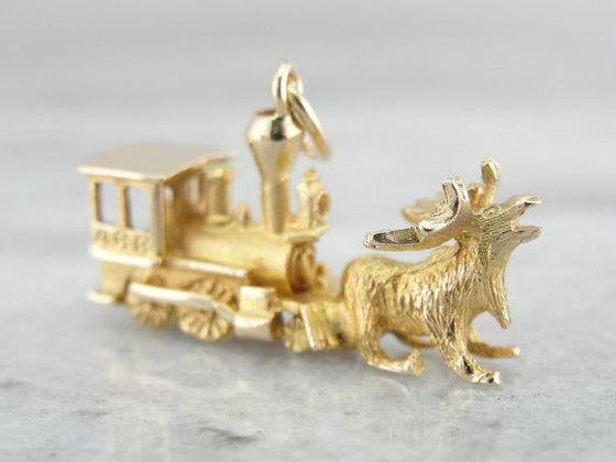 10K Gold Moose and Train Charm, Unusual, Alaskan