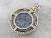 Lapis and Diamond Halo Pendant in White Gold
