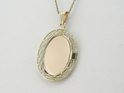 Vintage Filigree  ID Pendant in Green and Rose Gold
