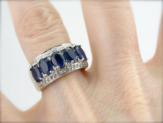 Thai Sapphire and Diamond Studded Wide Cocktail Band