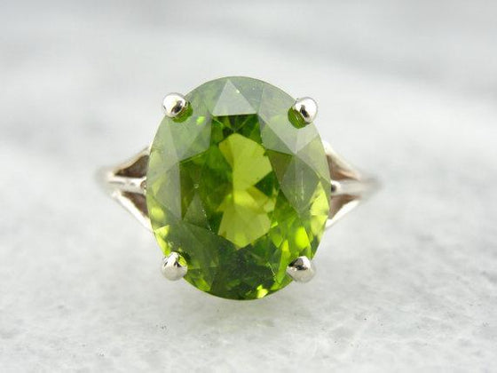 Peridot Gemstone in Classic Ladies Cocktail Ring