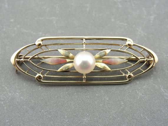 Art Nouveau Enamel and Filigree Brooch