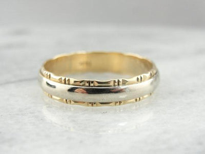 Two Tone Gold Decorative Wedding Band