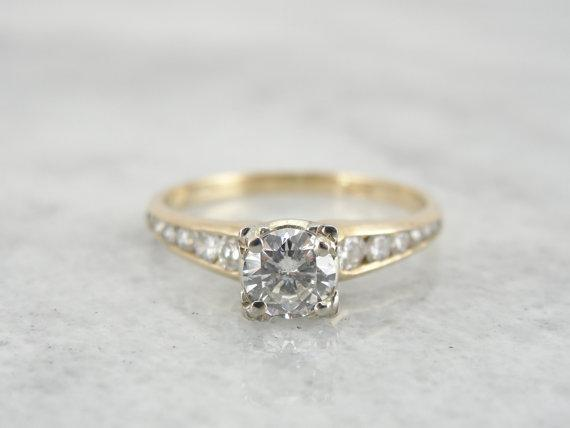 Diamond Engagement Ring with Channel Set Diamond Shoulders
