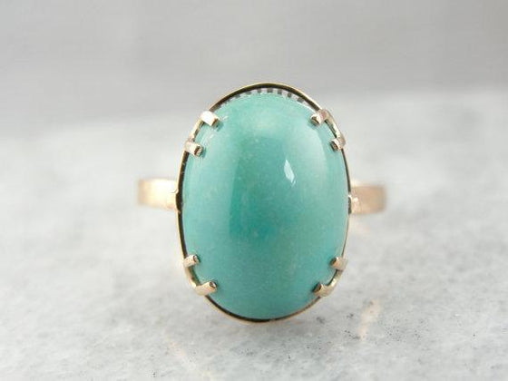 Fine Persian Turquoise and Art Nouveau Rose Gold Ladies Cocktail Ring