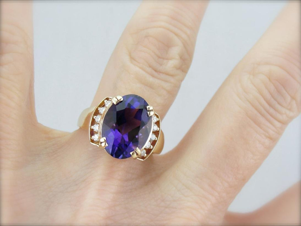 Beautiful Amethyst and Diamond Cocktail Ring