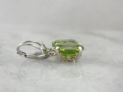 Bright Lime Green Peridot Earrings, August Birthstone