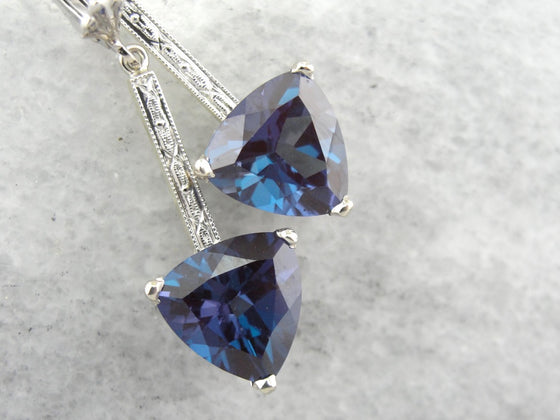 Synthetic Alexandrite Drops with Upcycled Art Deco Bars in White Gold
