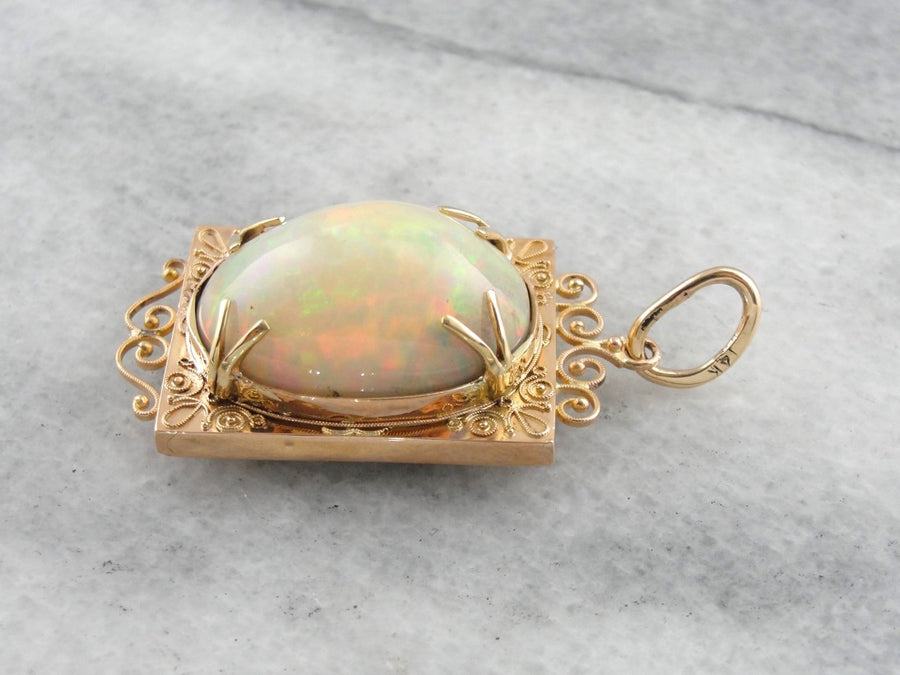 Collector's Quality, Ethiopian Opal Pendant in Antique Rose Gold