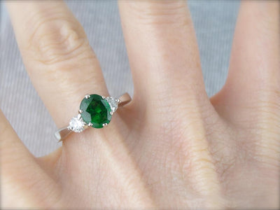 Tsavorite Garnet, Gorgeous Three Stone Anniversary or Engagement Ring