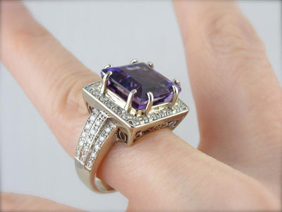 Contemporary Luxury: Weighty White Gold and Diamond Mounting with Rare Amethyst Center