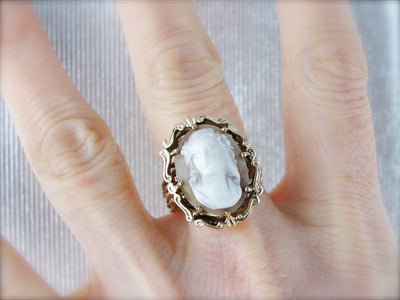 Large Cameo Ring, Vintage Cameo Ring, Mid Century Ring, Yellow Gold Ring