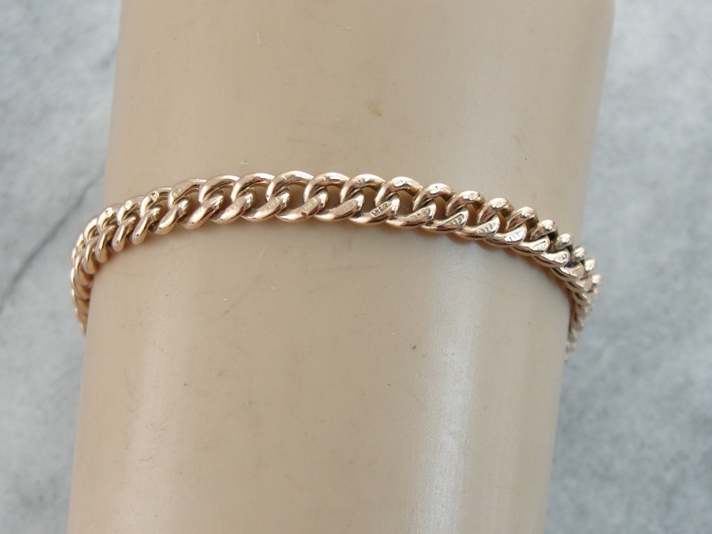 Antique Rose Gold Curb Link Bracelet with Luxurious Feeling Heft