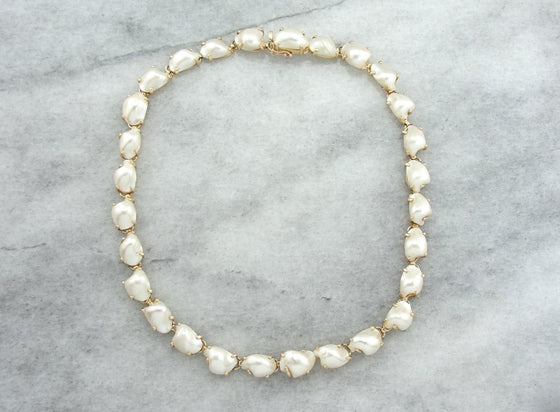 Substantial Baroque Pearl Choker in Yellow Gold