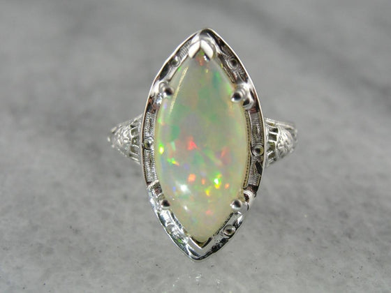 Marquise Cut Opal Dinner Ring in Art Deco Setting