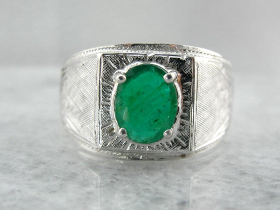 Textured and Masculine, Vintage Emerald Men's Ring