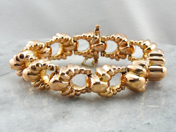Huge Heavy Rose Gold Bracelet, Scalloped Link Bracelet, Rose Gold Link Bracelet