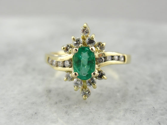 Modern Emerald and Diamond Anniversary Ring in Bright Gold, Rich Green Hues