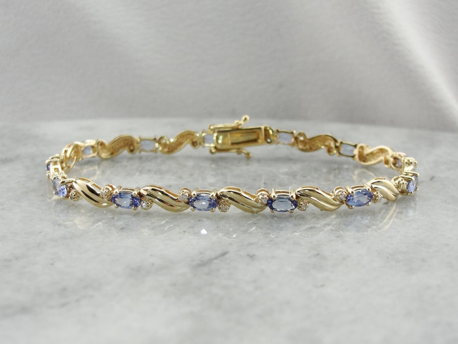 Tanzanite Tennis Bracelet, Tanzanite and Diamond Bracelet, Vintage Gold Bracelet
