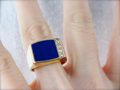 Men's Lapis and Diamond Ring