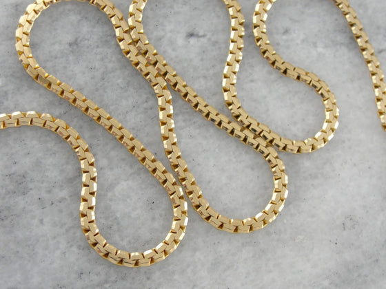 Gold Necklace Chain: Polished Yellow Gold Flat Curb Link Chain