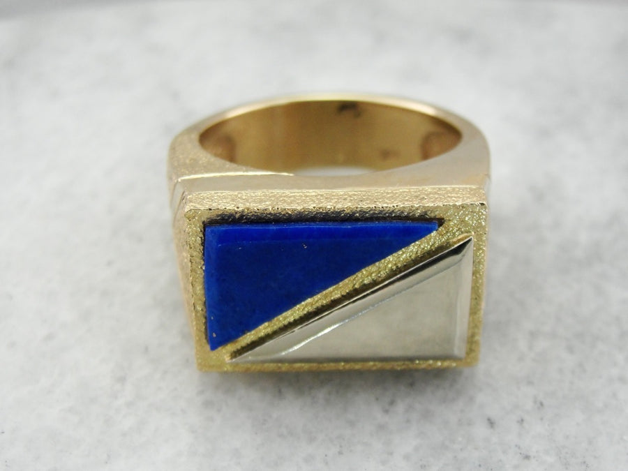 Handmade Lapis Men's Ring