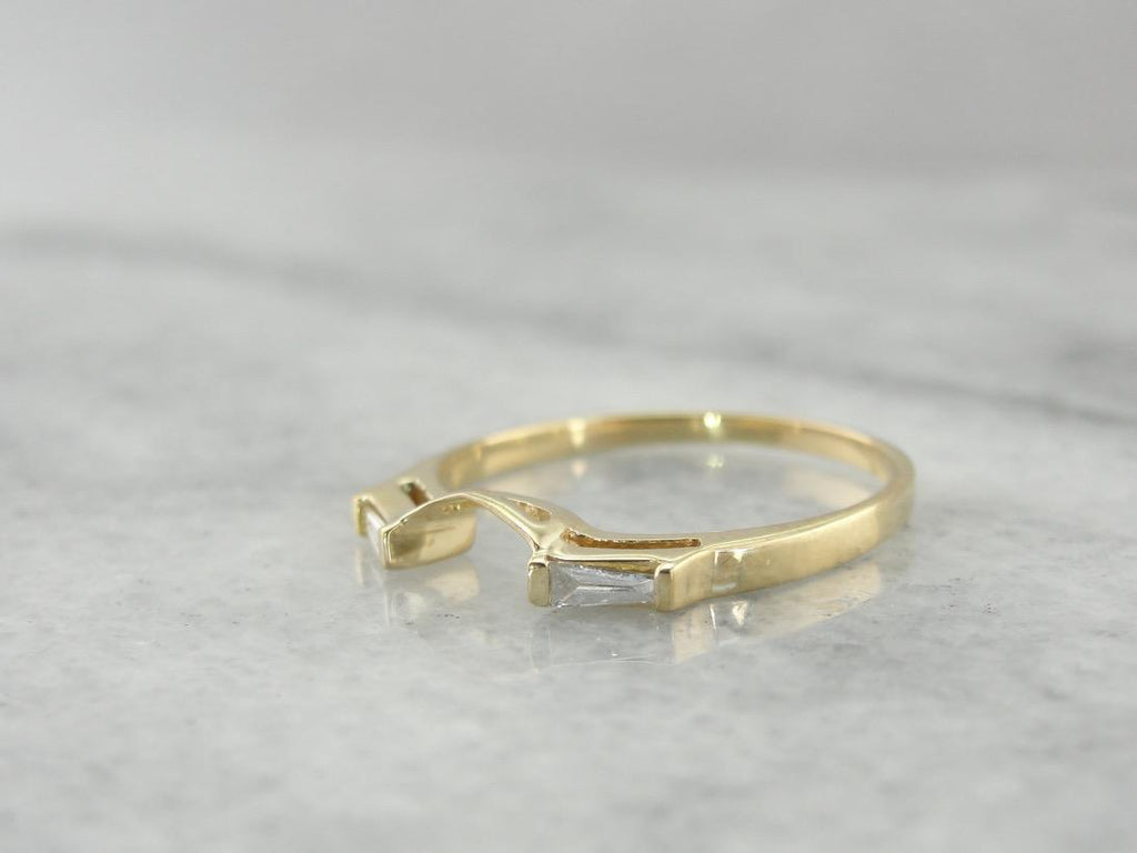 Baguette Diamond & Yellow Gold Guard Band, Solitaire Enhancer