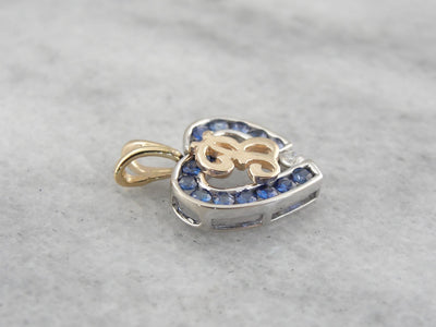 Sapphire and Diamond Heart B Initial Pendant