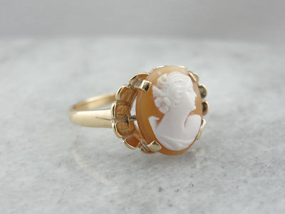 Mid Century Cameo Cocktail Ring