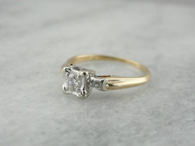 Retro Era Diamond Two Tone Gold Engagement Ring