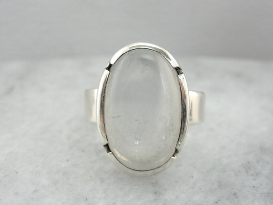 Large Moonstone Ring in Simple Sterling Silver Setting
