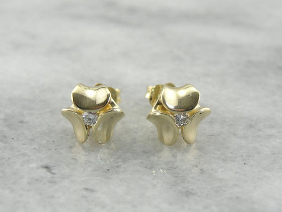 Modernist Diamond Stud Earrings in Polished Yellow Gold