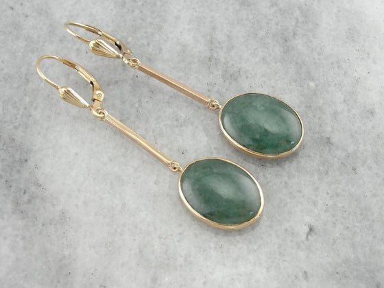 Pretty Jade Cabochon, Retro Era Gold, Gorgeous Vintage Long Drop Earrings