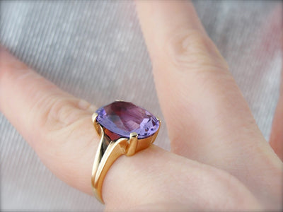 Purple Amethyst and Yellow Gold Simplistic Cocktail Ring with Four Prongs
