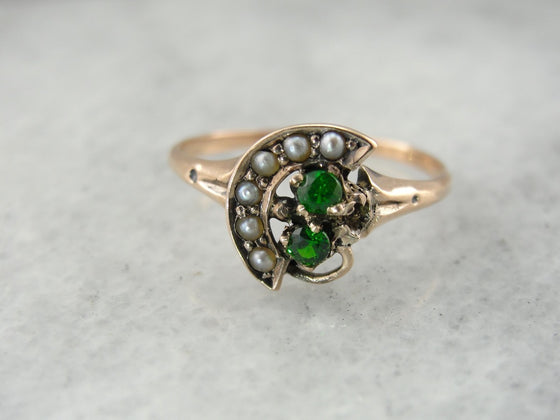 Sweet Victorian Era Demantoid Garnet and Seed Pearl Crescent Ring