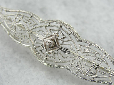 Antique Edwardian, Diamond Filigree Brooch