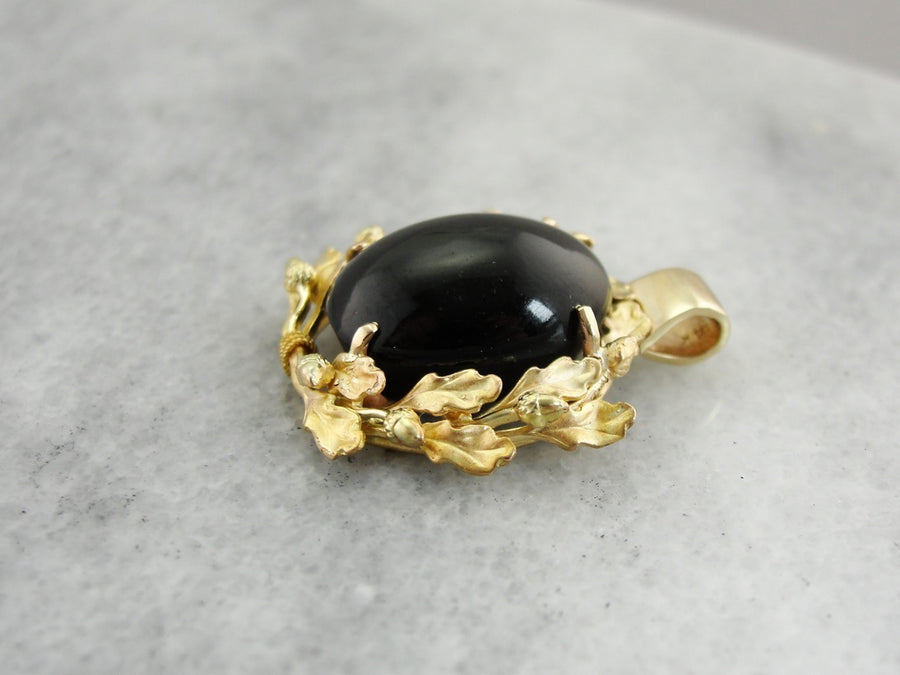 Spectrolite Cat's Eye Pendant Gold Botanical Pendant
