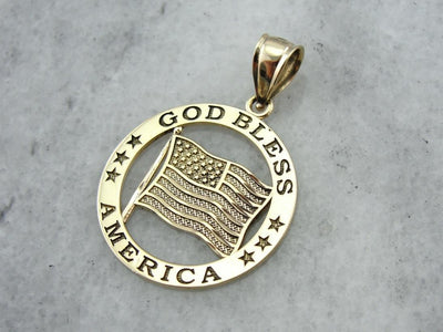God Bless America, American Flag Medallion
