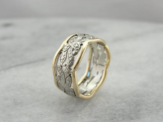 Pierced Two Tone Band in Yellow and White Gold with Wide Profile, Pierced Filigree Pattern Band