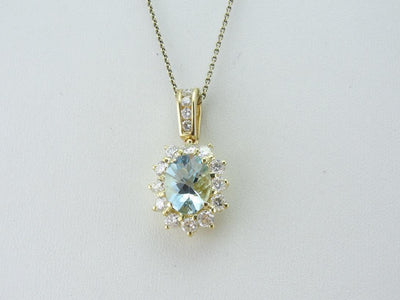 Stunning Aquamarine and Diamond Halo Pendant