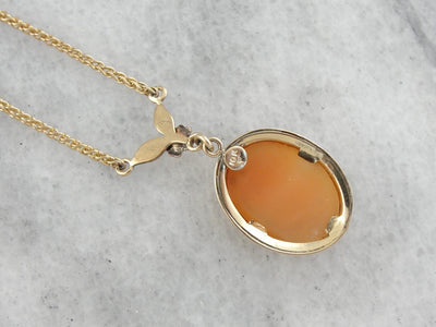 Retro Era Cameo Necklace with Floral Detail in Rose Gold