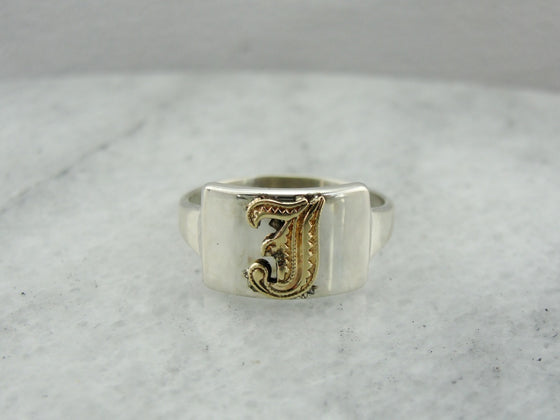 Vintage F Monogram Initial, Signet Ring of Yellow Gold and Sterling Silver