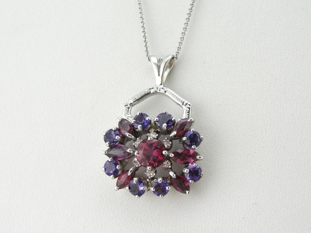 Pink Sapphire, Amethyst, Pink Tourmaline and Diamond Cluster Pendant