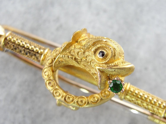 Etruscan Revival Dolphin Brooch with Demantoid Garnet Accent
