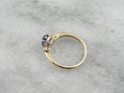 Classic Three Stone Sapphire and Diamond Engagement Ring