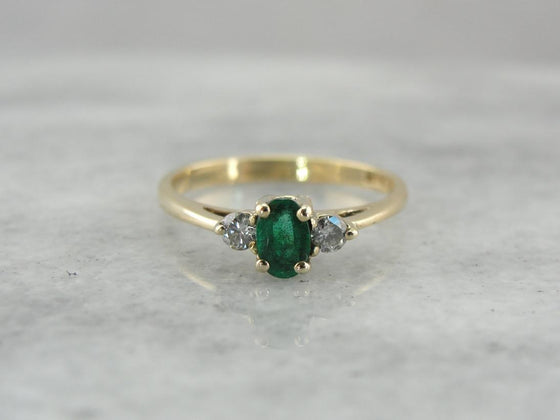 Classic Emerald Ring, Three Stone Engagement or Anniversary Ring