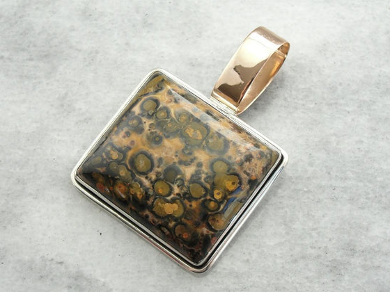Speckled Leopard Jasper Large Rectangle Pendant