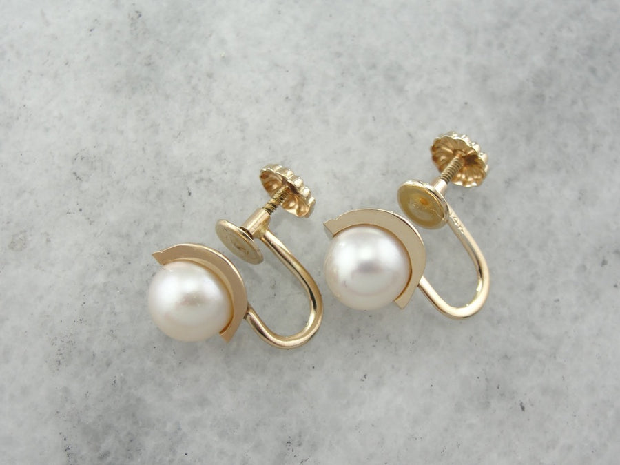 White Pearl Earrings with Non Pierced, Screw Back Findings, Yellow Gold