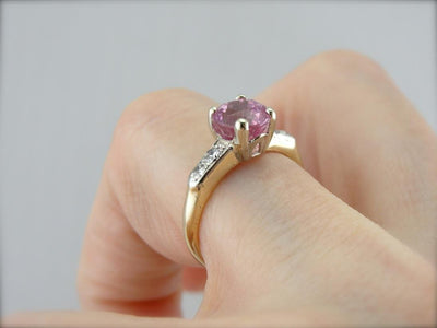 Soft Pink Sapphire and Diamond Engagement Ring or Signature Jewelry Piece